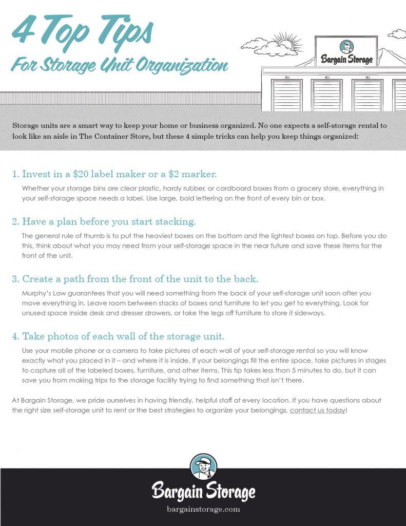 Storage Organization Checklist from Bargain Storage