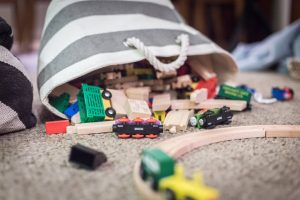 kids toys in bag on the floor