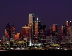 downtown dallas buildings at night
