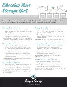 choosing self storage unit